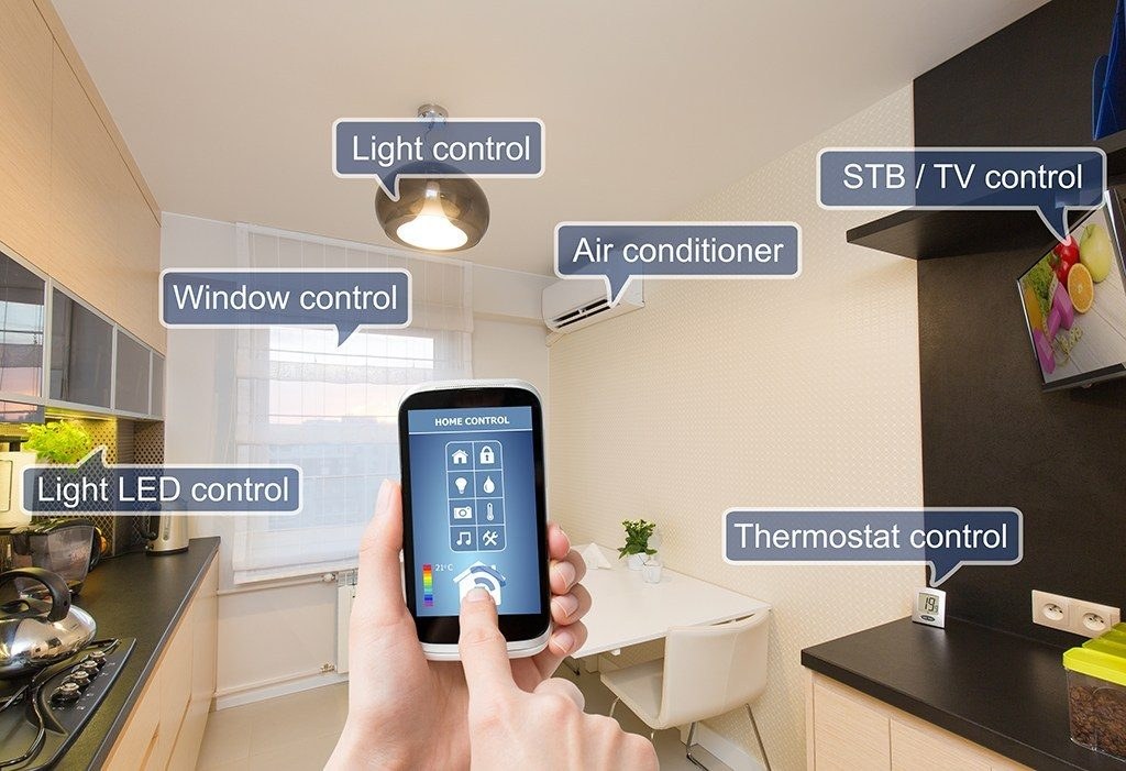 Remote home control system on a smart phone.